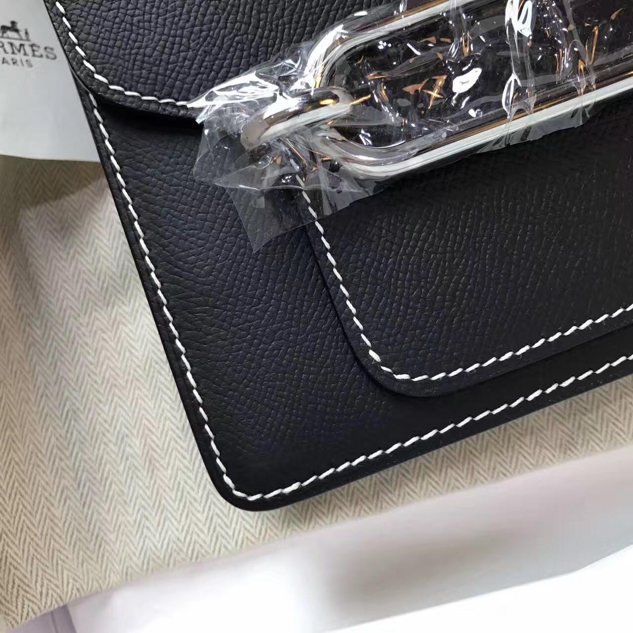 愛馬仕豬鼻子包 Hermes Roulis Epsom CK89 Nior黑银