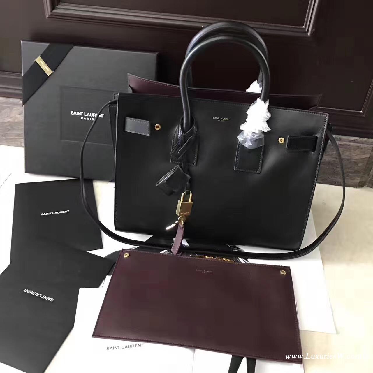 聖羅蘭YSL經典小號SAC DE JOUR和黑色内酒红色手袋