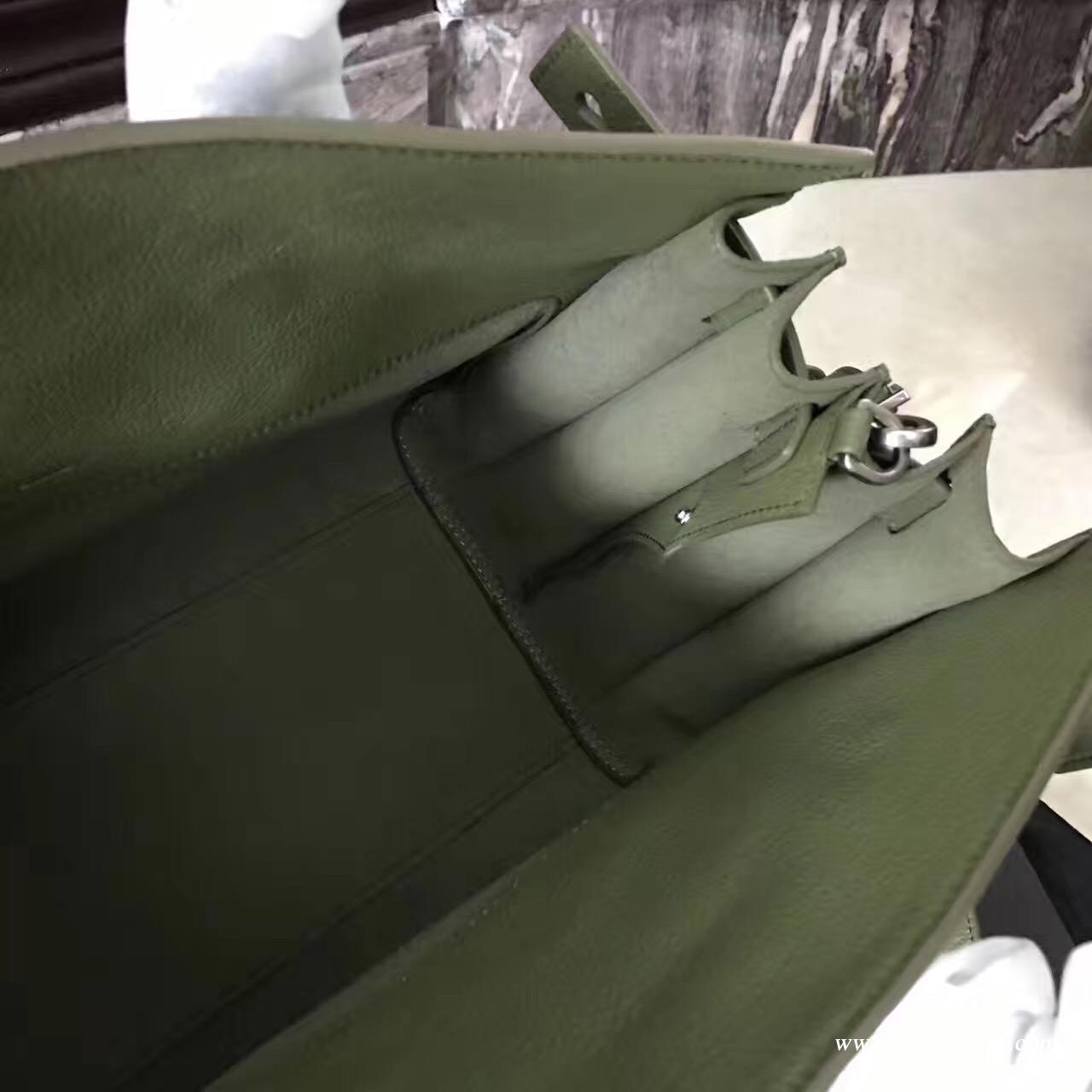 聖羅蘭YSL 小号柔和质地SAC DE JOUR包 颗粒纹绿色真皮包