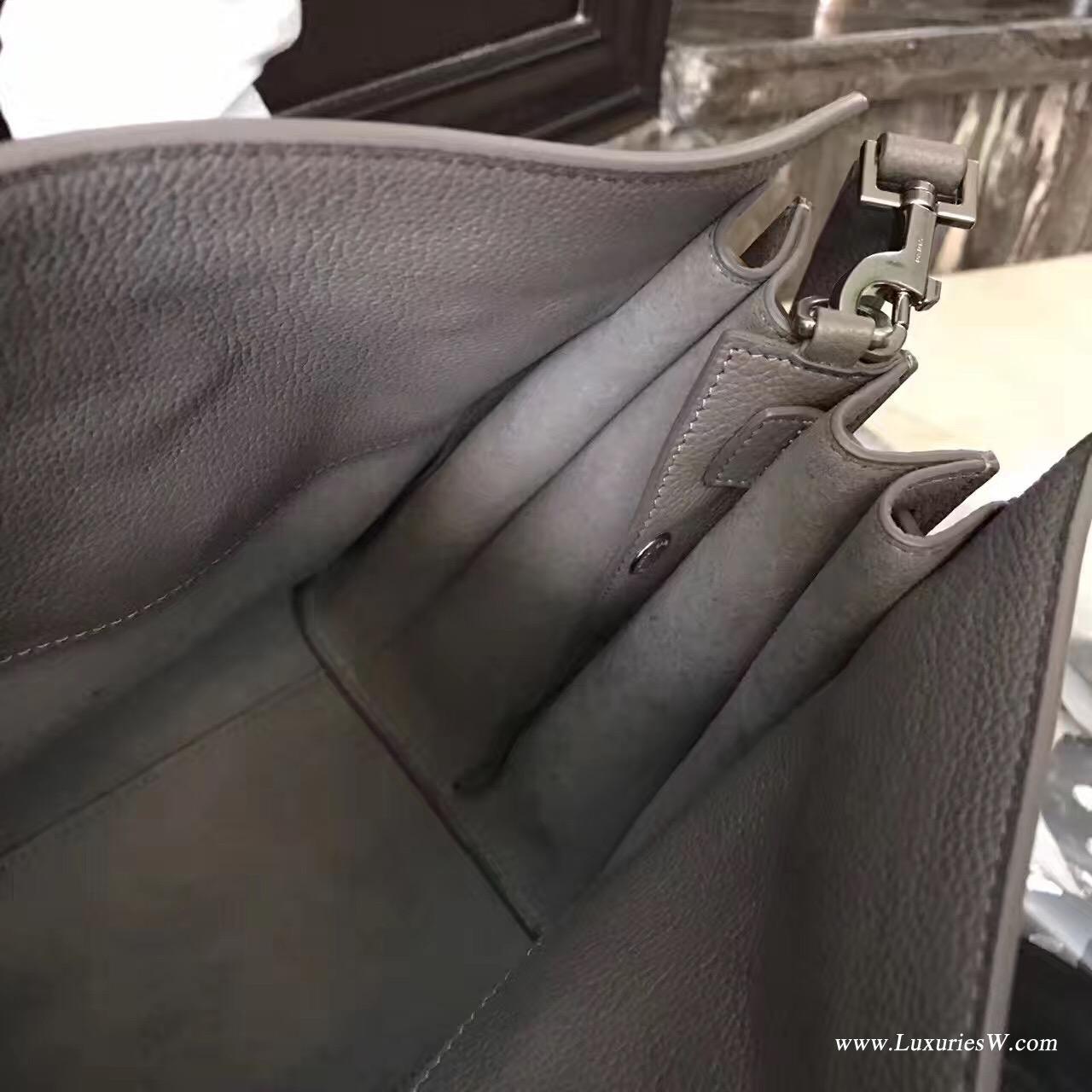 聖羅蘭YSL小号柔和质地SAC DE JOUR包 颗粒纹灰色真皮包