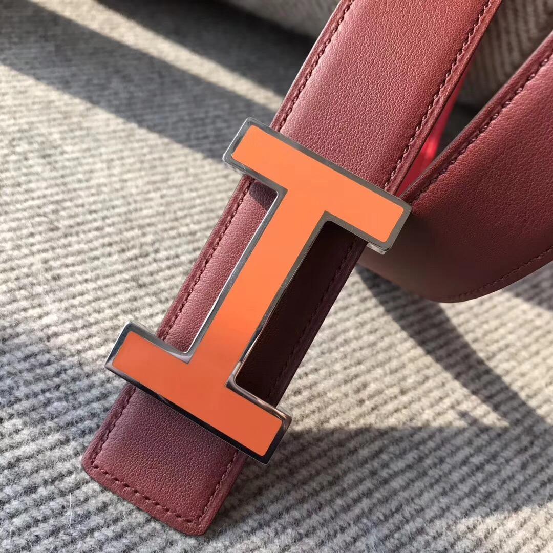 Hermes皮帶H扣 belt epsom国旗红色/宝石红色腰帶 75~115歐碼