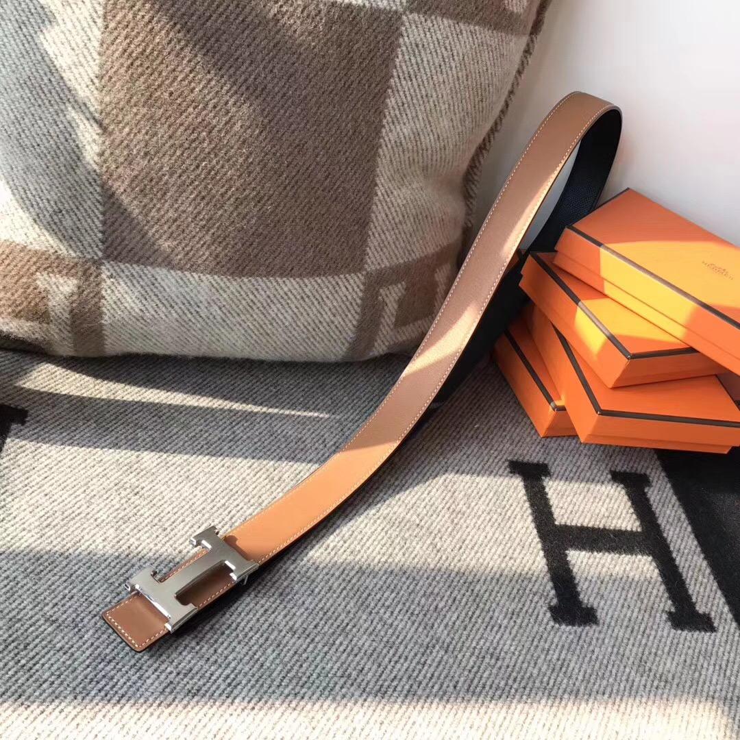 Hermes皮帶H扣 belt epsom黑色/金棕色腰帶 75~115歐碼