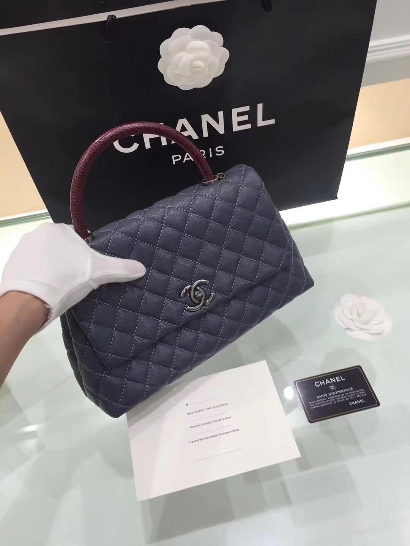 小香 coco handle bag復古手提包 中號28cm 藍色蜥蜴皮手柄手袋