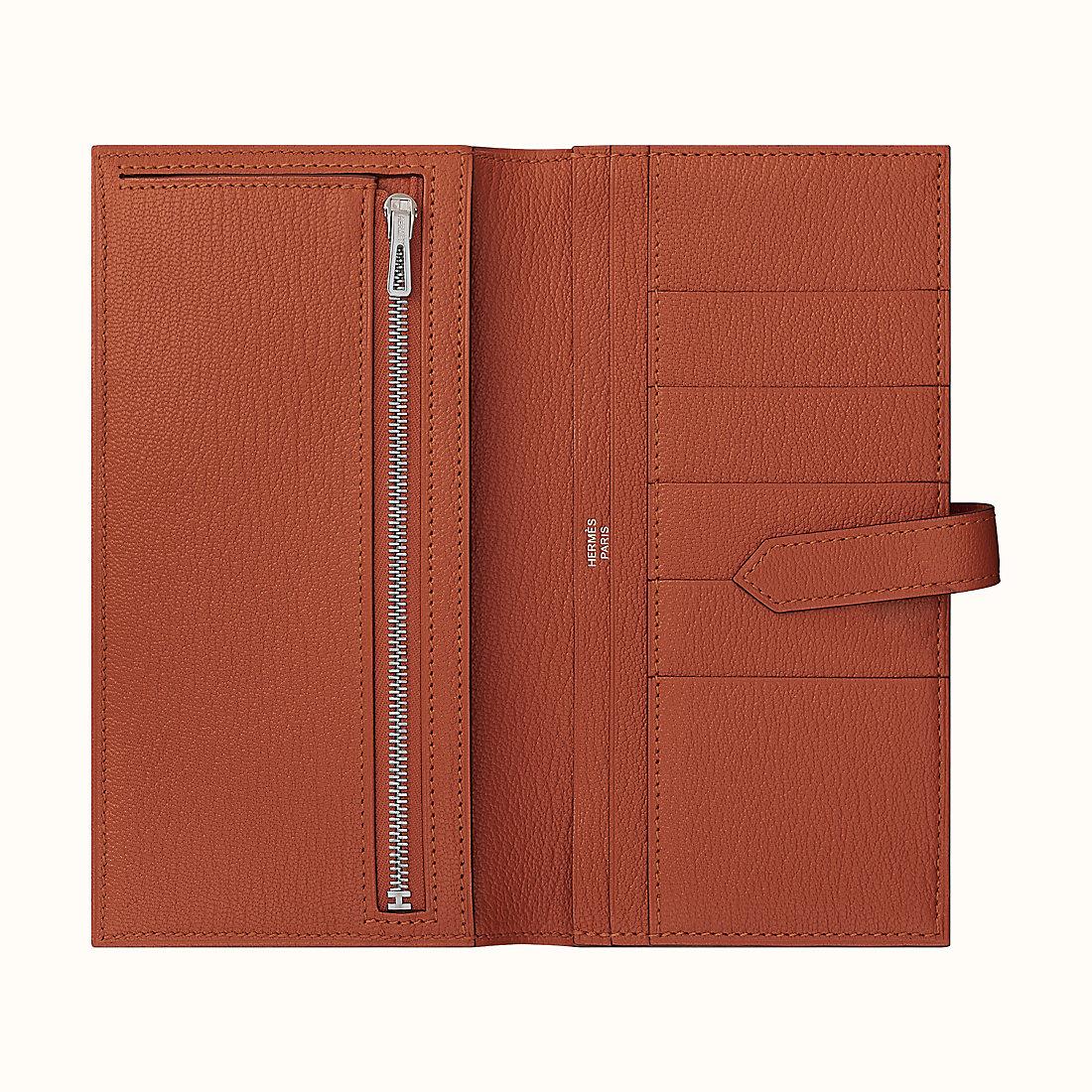 香港黃大仙區 愛馬仕長款錢包 Hermes Bearn wallet 山羊皮 CK36 磚紅色