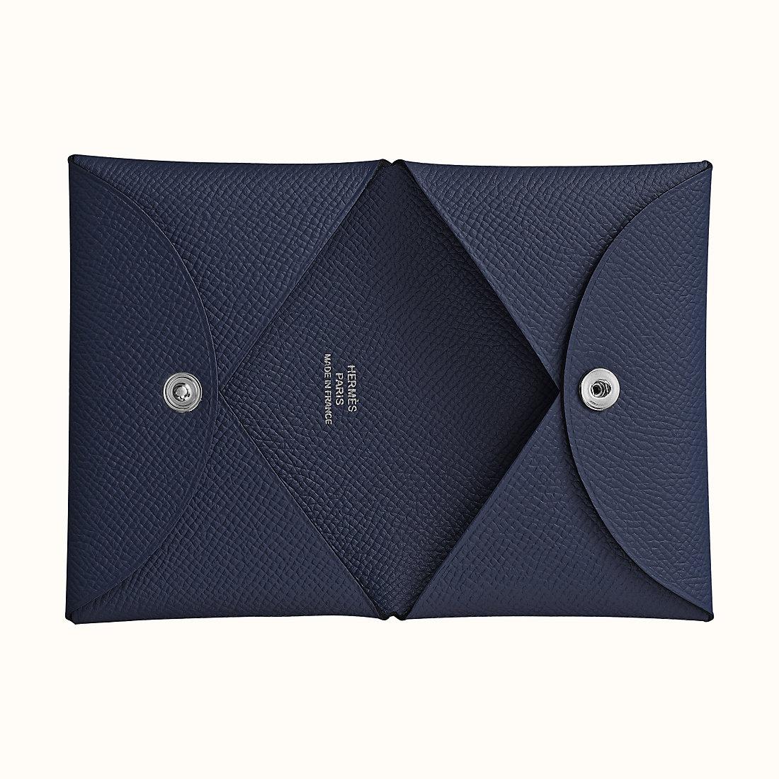 香港元朗區愛馬仕卡包 Hermes Calvi verso card holder CK76 Bleu Indigo