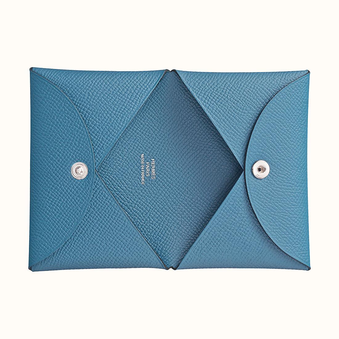 Calvi卡包價格及圖片大全 Hermes Calvi verso card holder 7R 碧藍色
