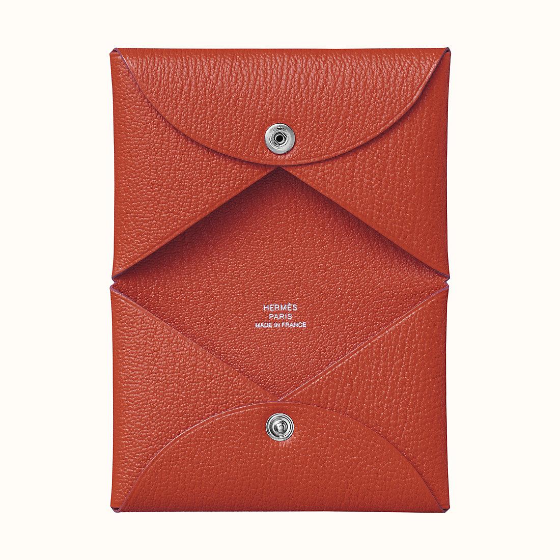 Macao Hermes Calvi verso card holder CK36 砖红色 山羊皮