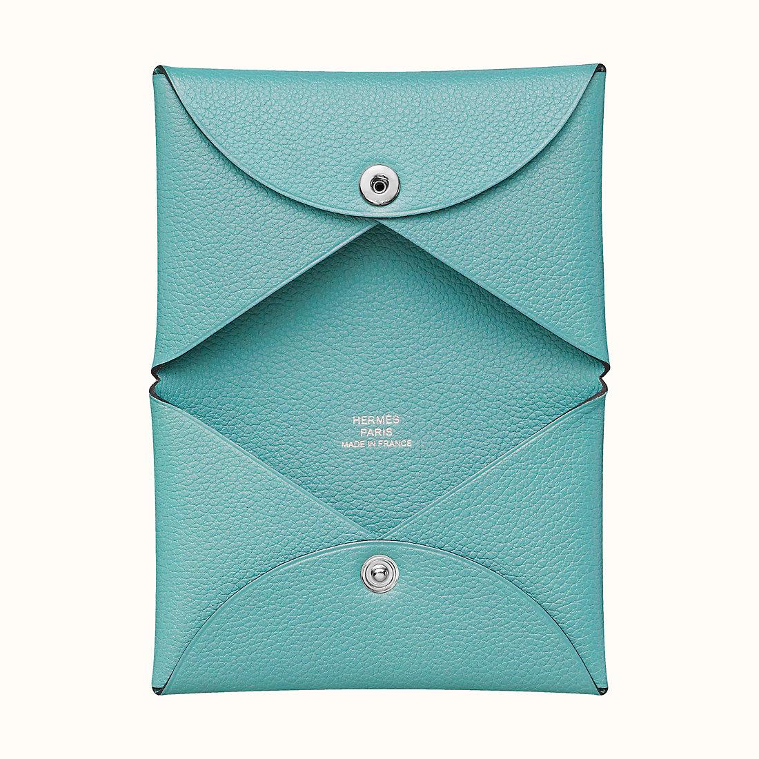 Hermes Evercolor Calvi verso card holder 3P Blue Atoll 马卡龙蓝
