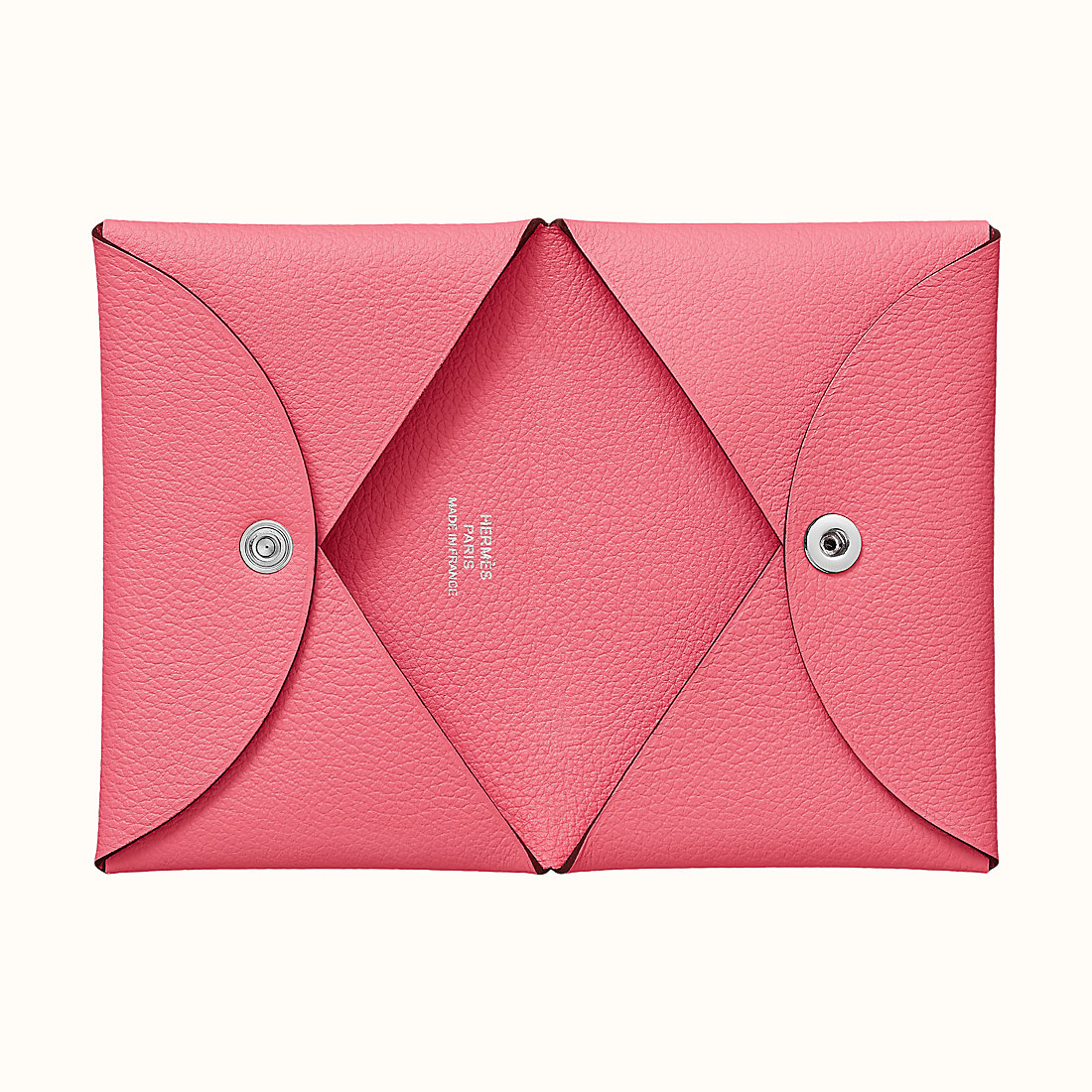 Hermes Evercolor Calvi verso card holder CK8W Rose Azalee