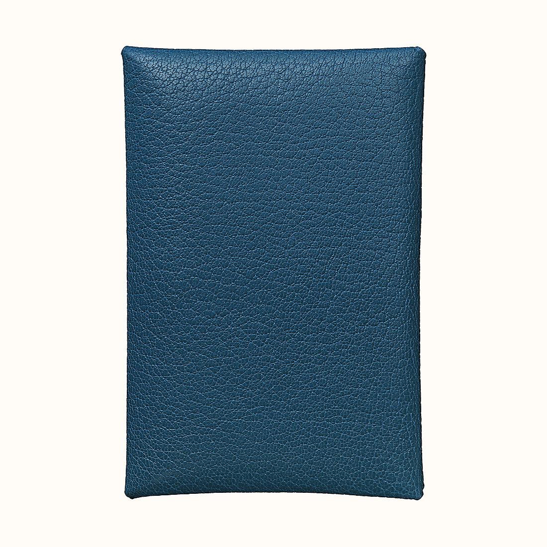 香港香港島中西區愛馬仕 Calvi 山羊皮卡包 CKS4 深藍色