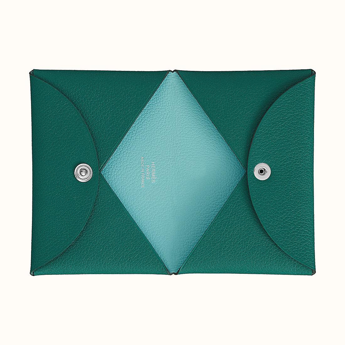 香港長洲區 愛馬仕 Calvi 雙色 山羊皮卡包 孔雀绿/泻湖蓝 價格及圖片