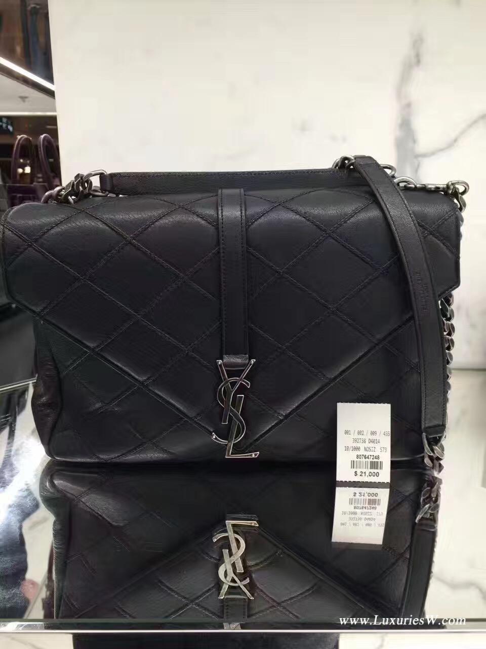 YSL聖羅蘭 經典SAINT LAURENT黑色真皮 金屬鏈手提包