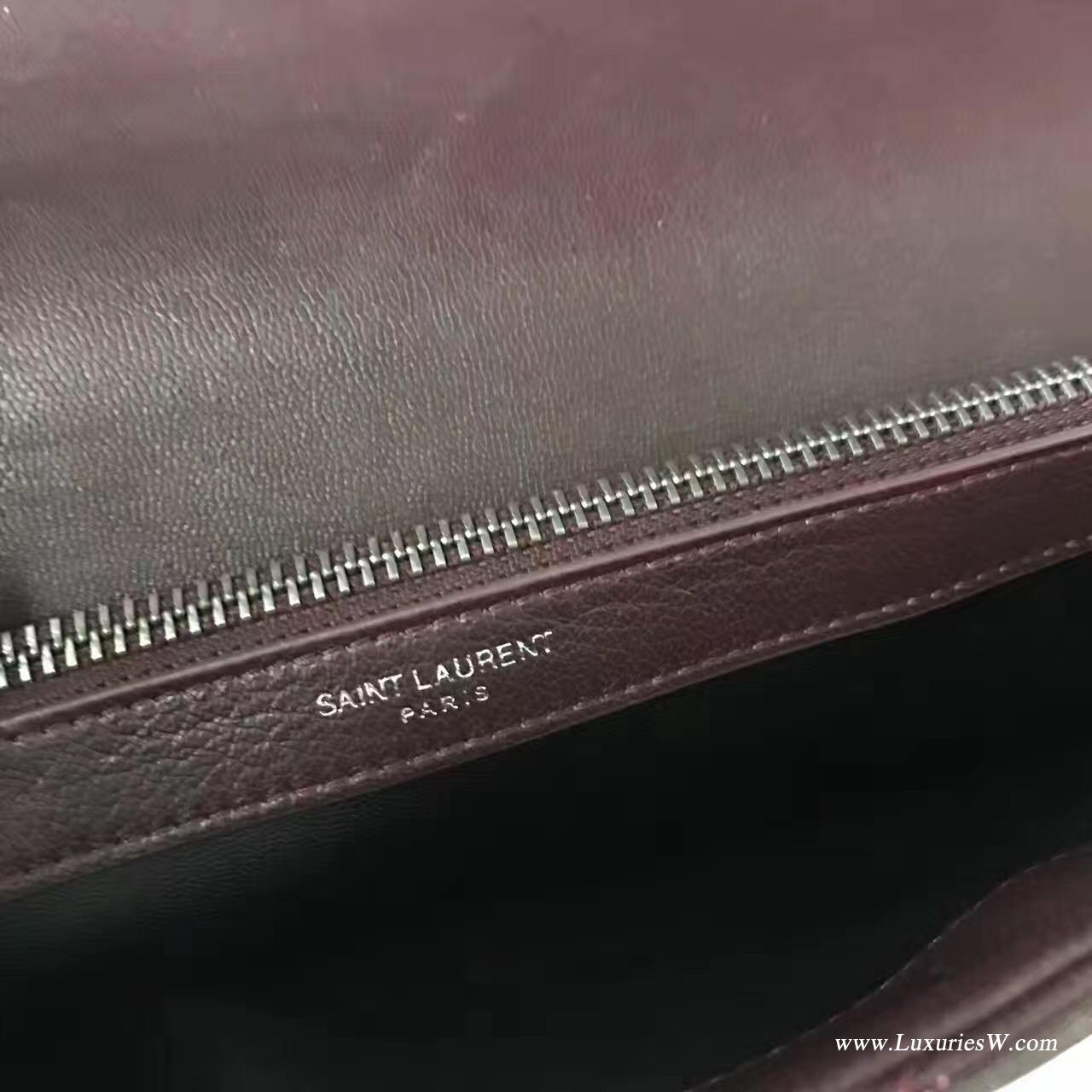 YSL聖羅蘭 經典SAINT LAURENT酒红色真皮手提包帶金屬鏈