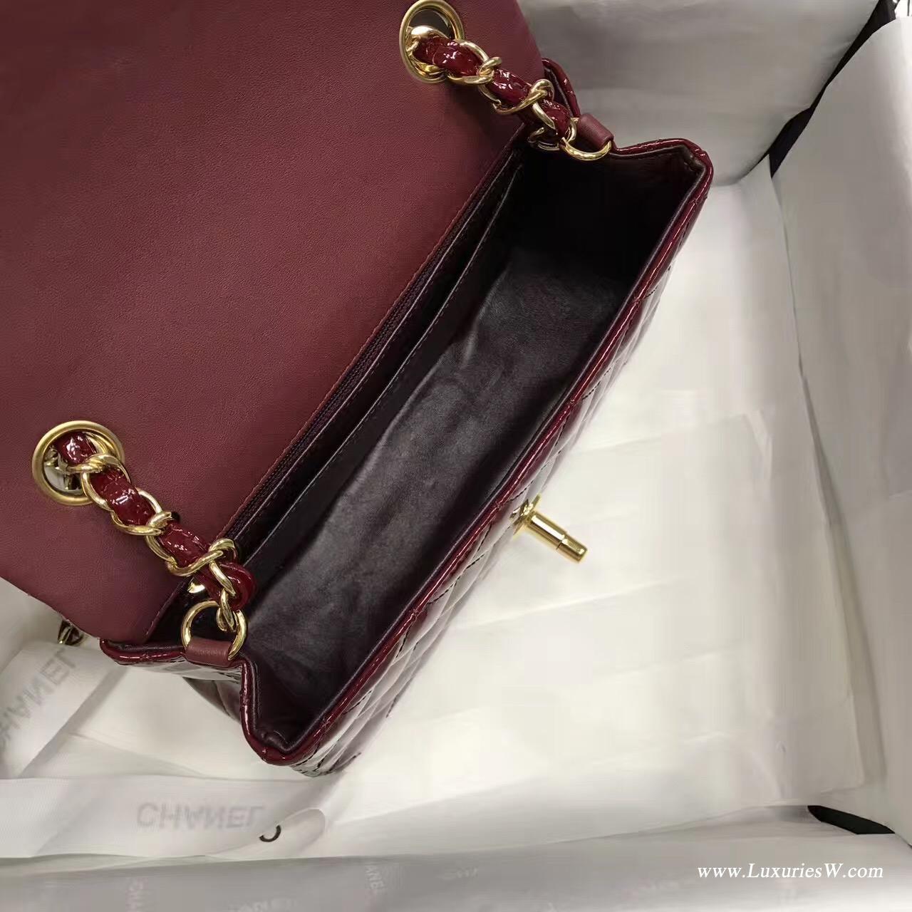 小香包 Mini Classic Flap bag酒紅色小牛漆皮菱格鏈條 口蓋包