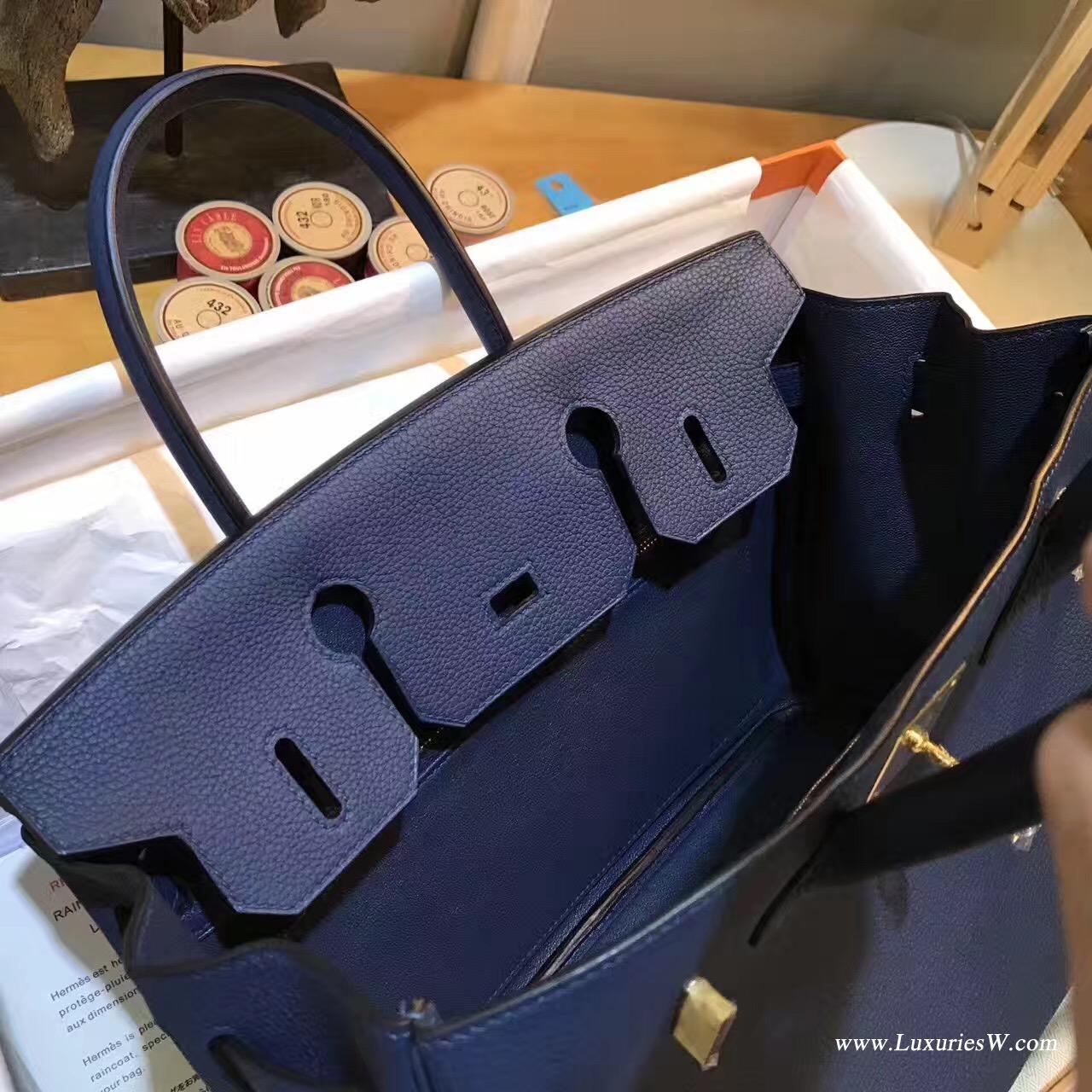 愛馬仕Hermes Birkin 30 togo CK73 Blue Sphir寶石藍金扣