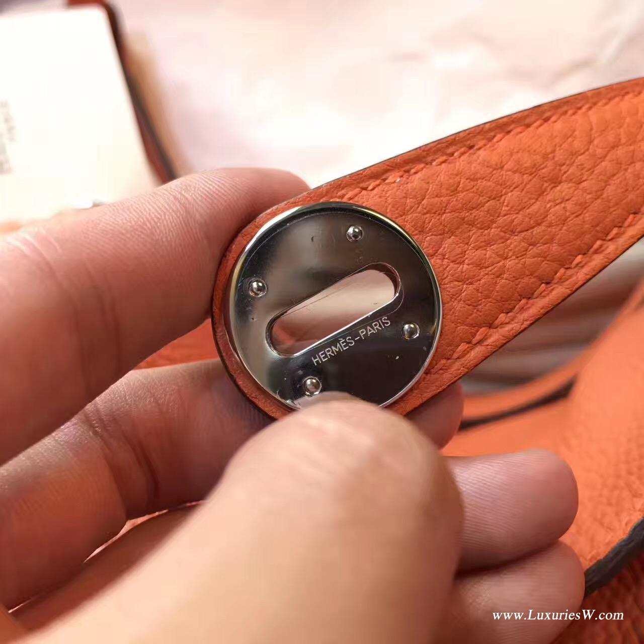 愛馬仕林迪Lindy 30 togo CK93 Orange經典 橙色銀色金屬
