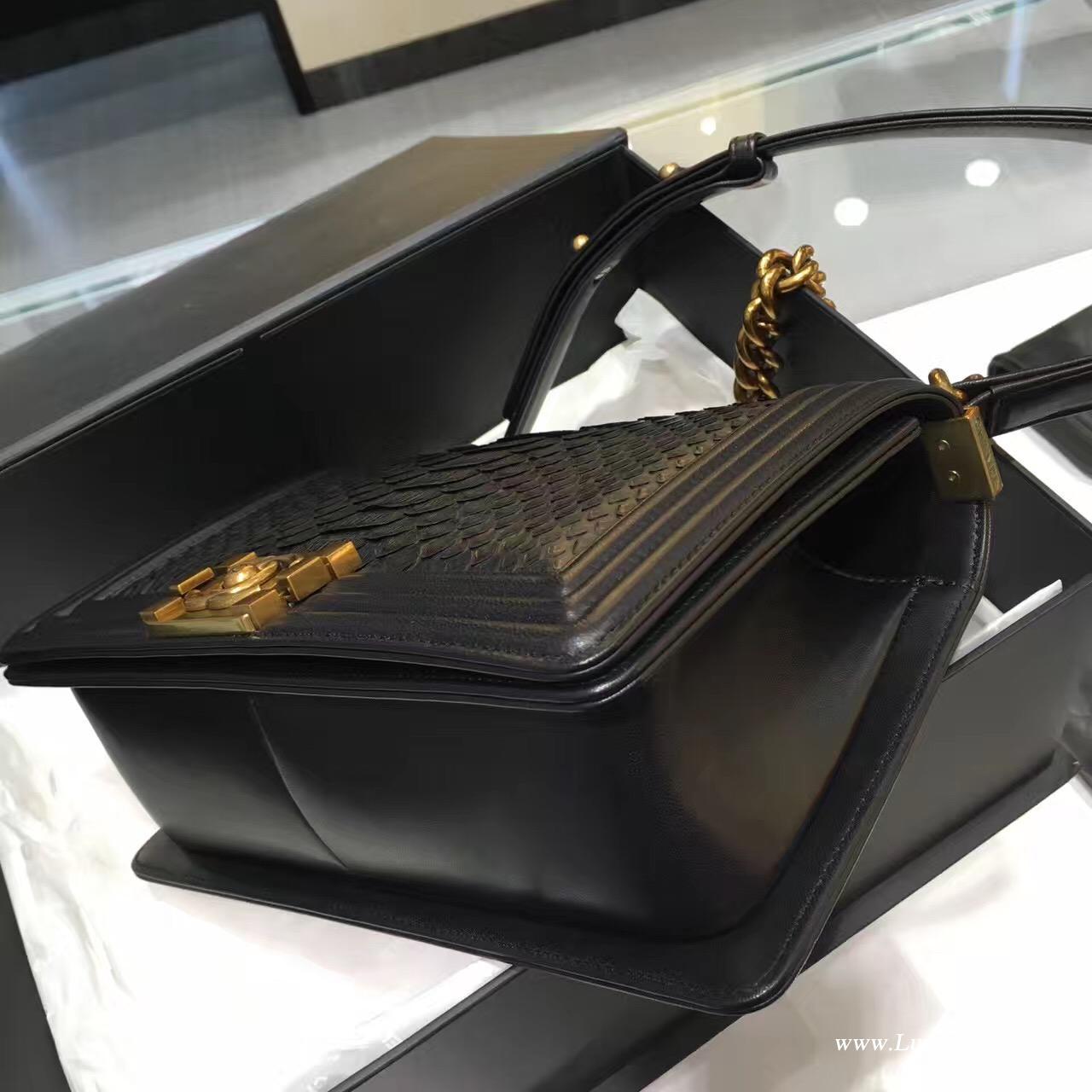 小香le boy bag包包 黑色蟒蛇皮20cm/25cm复古金银金属链条包 辣妈包