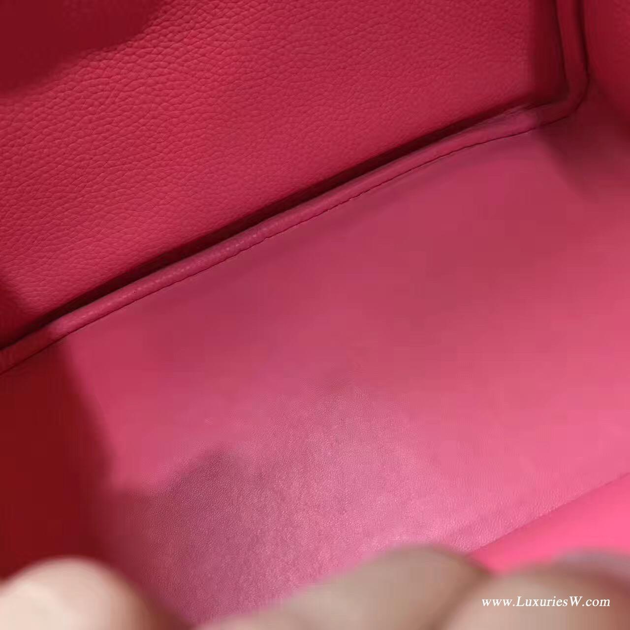 愛馬仕Lindy 30 togo唇膏粉 U5 RoseLipstick 唇膏粉色金扣金屬