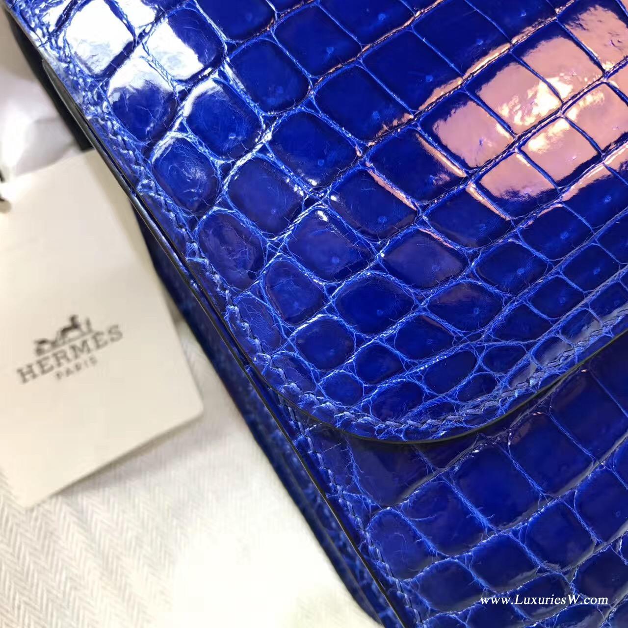 愛馬仕 康斯坦斯包 Constance 23 鱷魚光面 7T Blue Electric電光藍