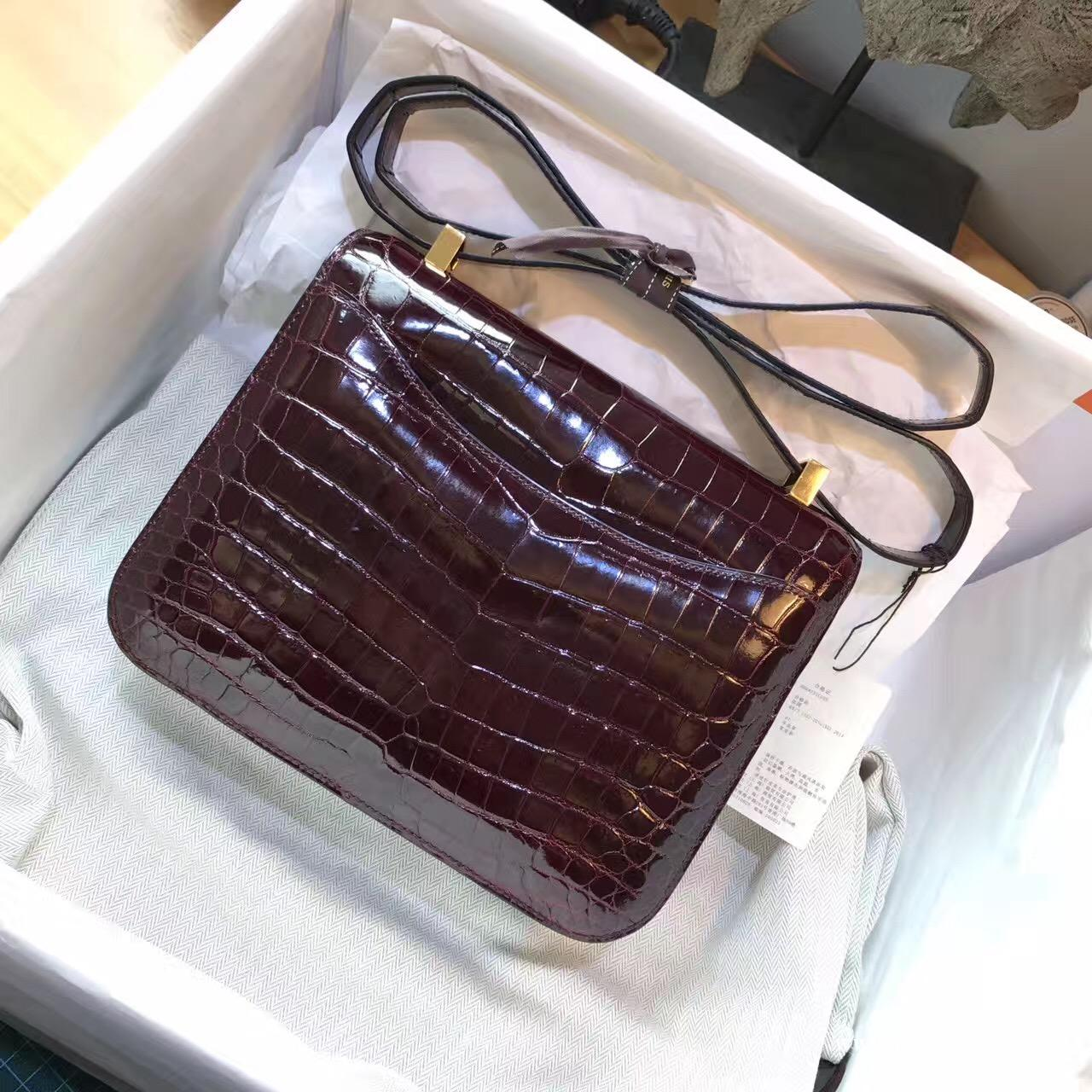 愛馬仕 康斯坦斯包 Constance 23 鱷魚光面CK57 Bordeaux波爾多酒紅金扣