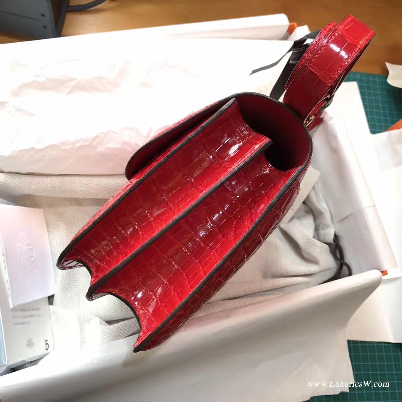 康斯坦斯包 Constance 23 光面鱷魚 CK95 Rouge Braise 法拉利紅GHW純正紅色