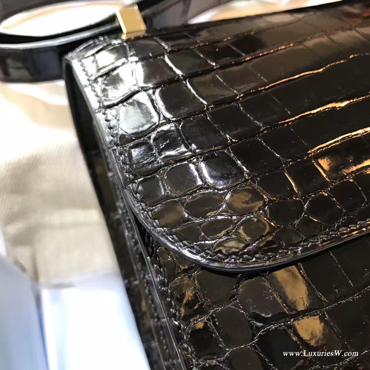 愛馬仕 康斯坦斯包Constance 23 光面鱷魚黑色 金扣金屬CK89 Nior