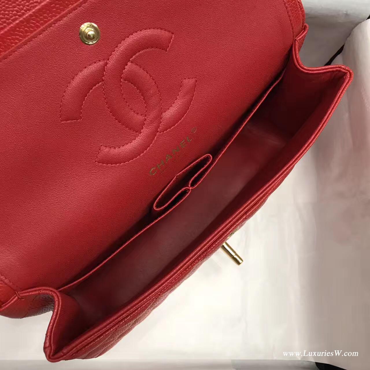 小香Classic Flap Bag A01112菱格鏈條經典口蓋包 红色 魚子醬金色