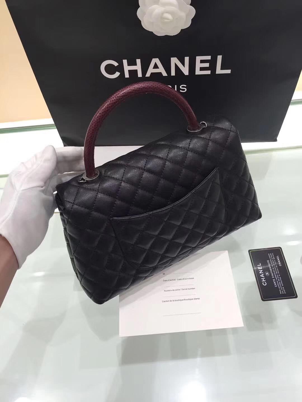 小香手提包coco handle bag中號28cm 復古銀金屬黑色蜥蜴皮手柄手袋