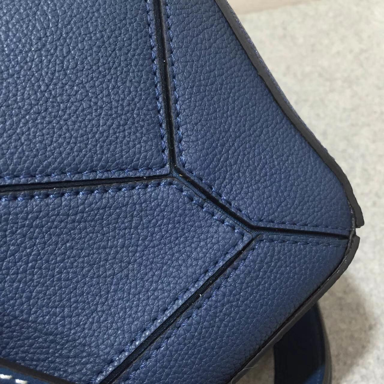 羅意威Loewe 中號 Puzzle Bag 靛蓝色 Soft Grained Calf/Calf