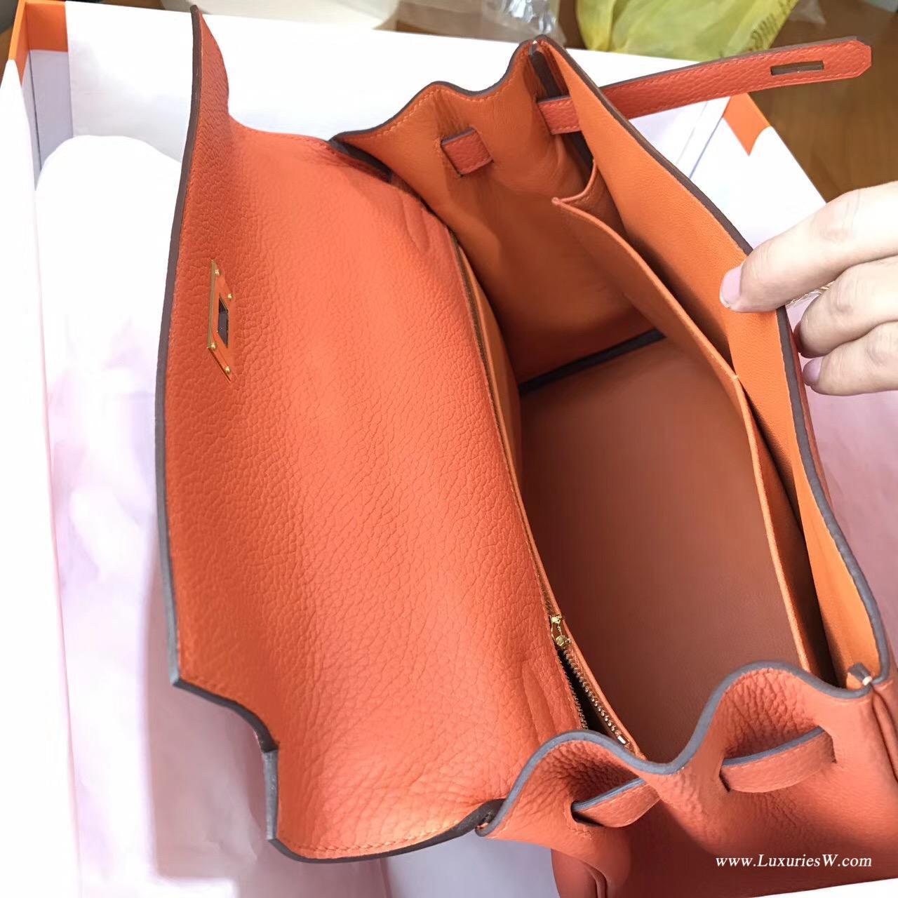 愛馬仕Hermes最早的包袋 凱莉包 Kelly 32 togo 9J Feu火焰橙金扣
