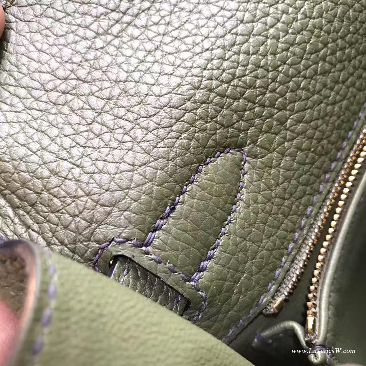 愛馬仕純手縫Hermes Kelly 28 togo V6 Canopee 叢林綠 軍綠色金扣