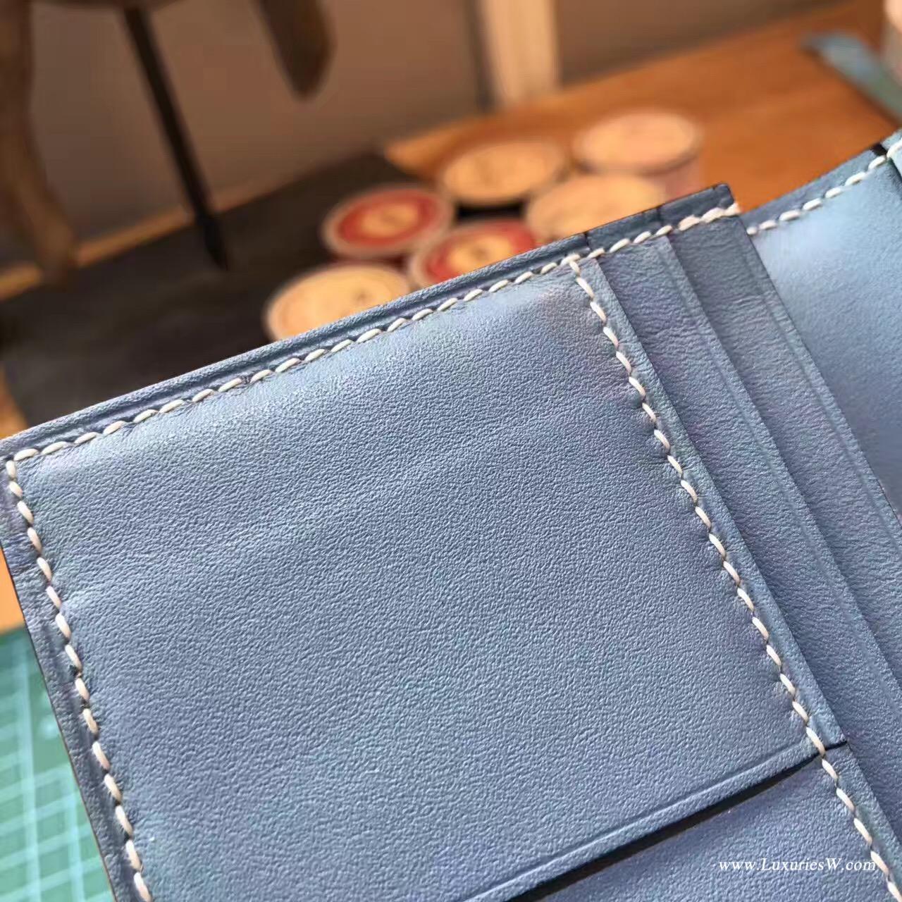 香港元朗區米埔愛馬仕 Hermes Bearn Wallet 兩折錢夾Swift 牛仔藍搭配蜥蜴銀扣
