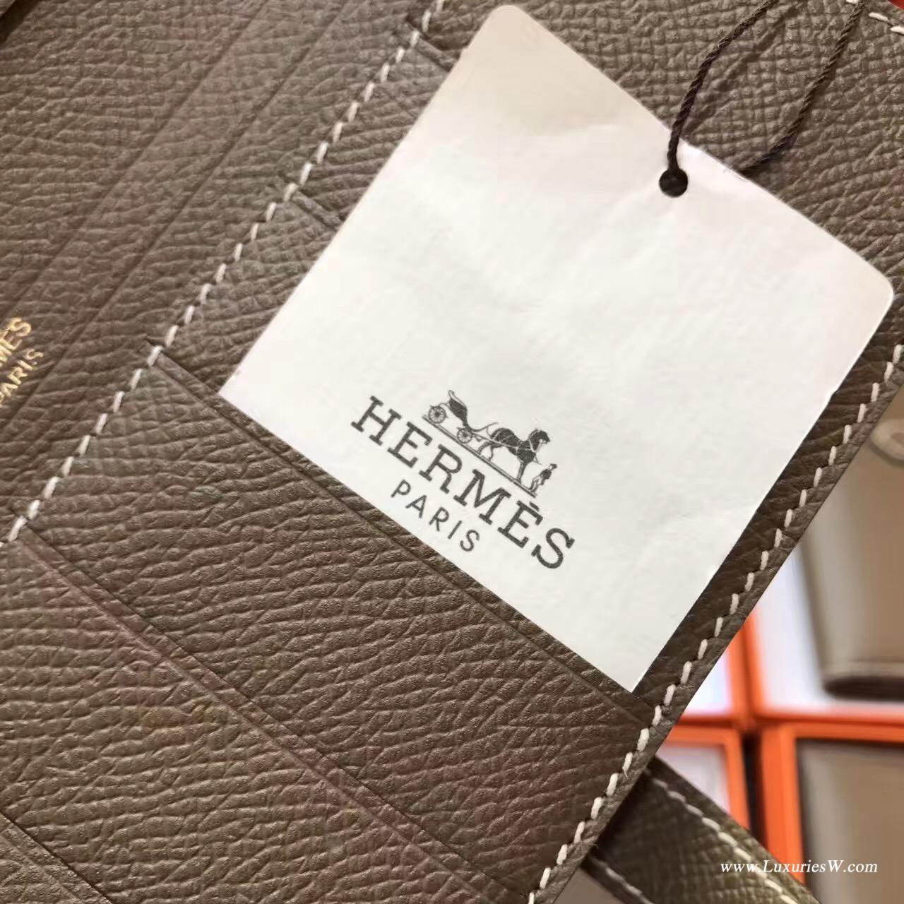愛馬仕H扣長款錢包 Hermes Bearn Epsom两折钱夹CK 18 Etoupe大象灰金扣