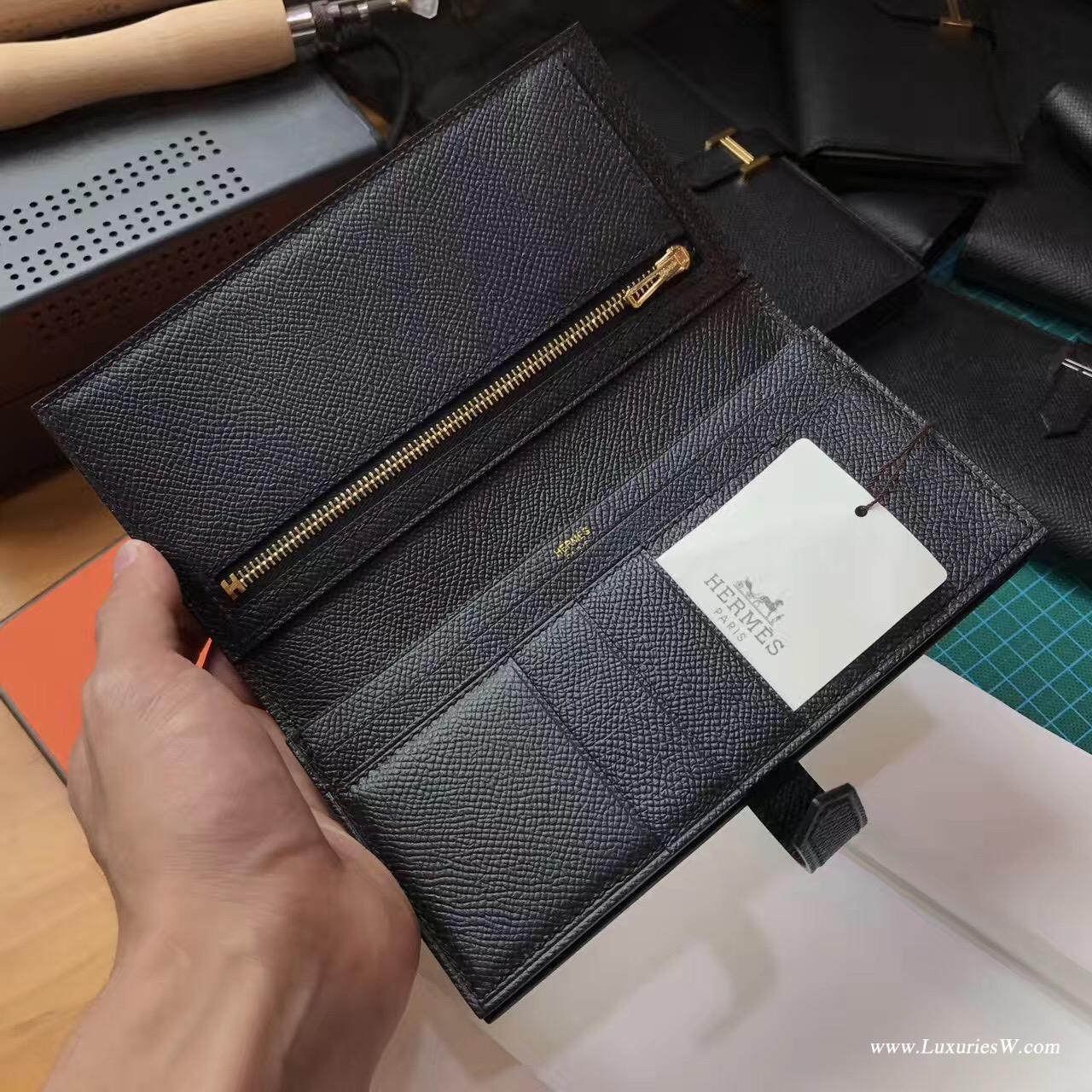 香港九龍城區九龍城 愛馬仕長款錢包 Hermes Bearn Epsom CK89 Nior 金扣