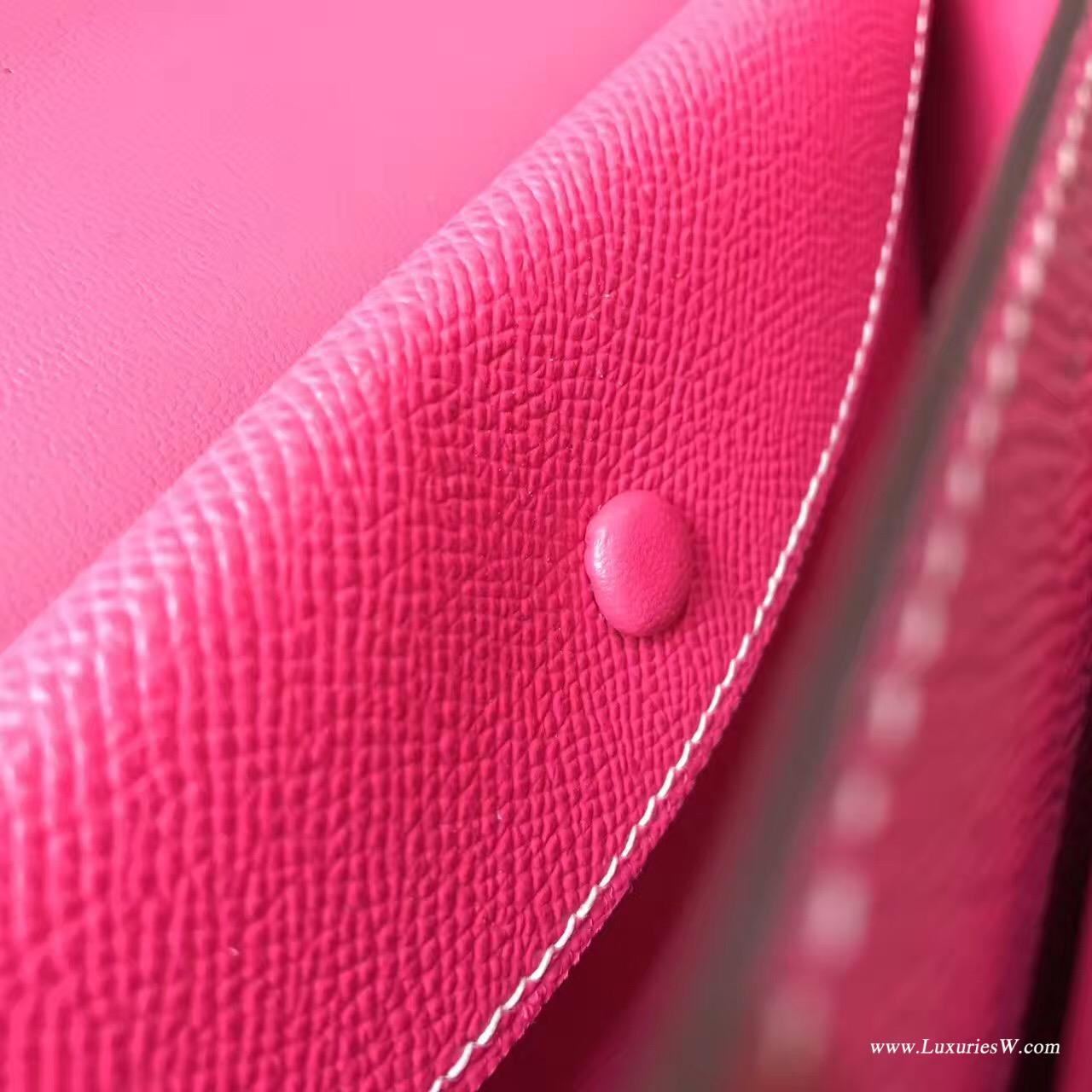 Herems Verrou Chaine bag 愛馬仕 Epsom E5 Rose Tyrien糖果粉色大號
