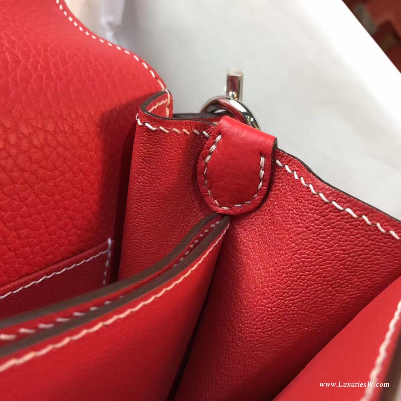 Hermes Roulis 大牛荔枝紋Q5 Rouge Cossacks 中國紅 銀扣白線