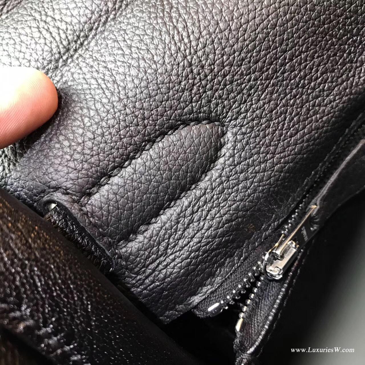 愛馬仕Hermes最早的包袋 凱莉包Kelly 32 togo CK89 Nior黑色銀扣