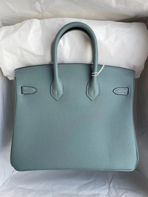 愛馬仕鉑金包25寸專櫃價格 Hermes Birkin 25cm Togo 7G Ciel 天青色 銀扣