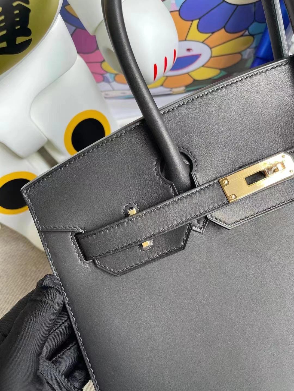 Hermes Birkin 30cm Sellier 外縫 Barenia Natural 馬鞍皮 89 Noir 黑色 金扣