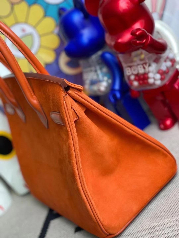 Hermes Birkin 30 Doblis Suede麂皮絨面小山羊皮 拼 box  93 Orange 橙色 銀扣
