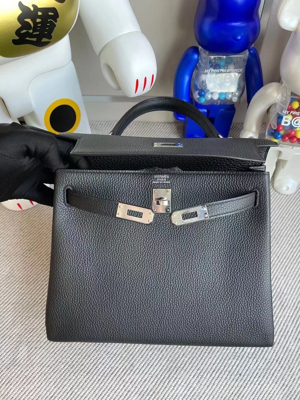 Hermes Kelly 25cm Togo leather CK89 Noir 黑色 銀扣 全手工蜜蠟線縫製