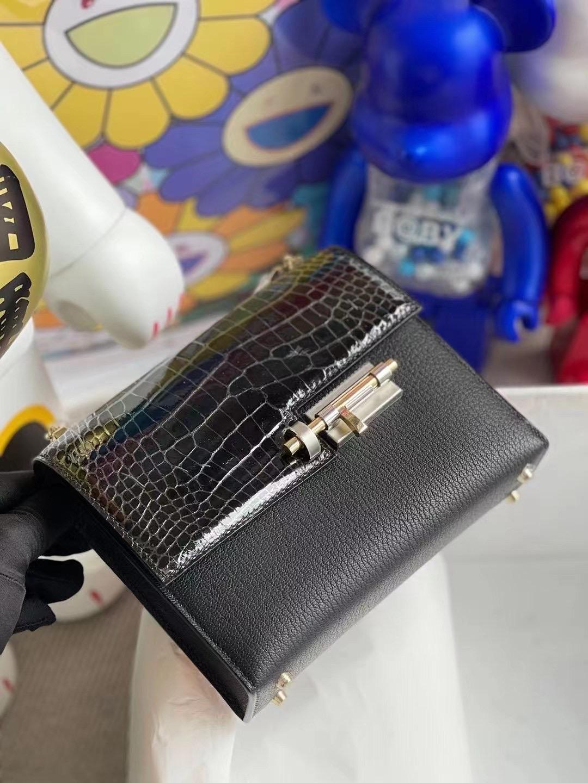 愛馬仕手槍包 插銷包 Hermes Verrou Mini Touch 山羊皮 Alligator Crocodile 黑色 銀扣