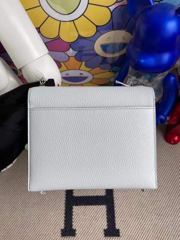 Hermes Verrou Mini Chevre Mysore 山羊皮 T0 Blue Brume 霧藍色 銀扣