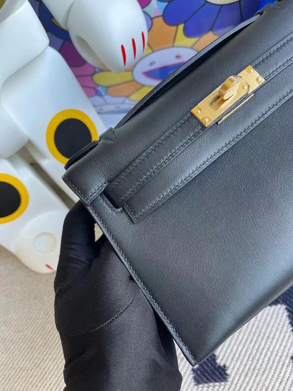 愛馬仕迷你凱莉包一代價格 Hermes MiniKelly Pochette Swift 89 Noir黑色