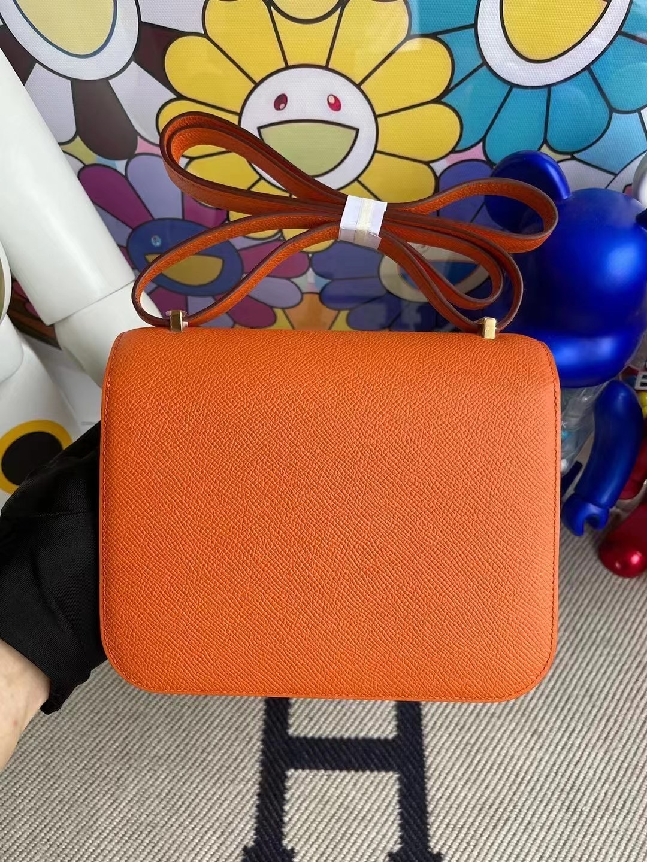 香港北區上水愛馬仕康康價格 Hermes Constance 19 Epsom 93 Orange 橙色 金扣