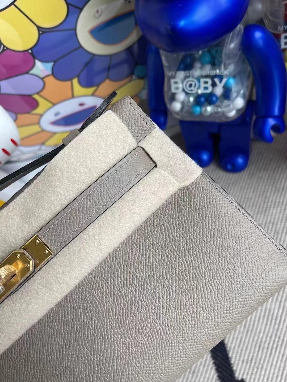 愛馬仕迷你凱莉包一代 Hermes MiniKelly Pochette Epsom M8 Gris Asphalte 瀝青灰