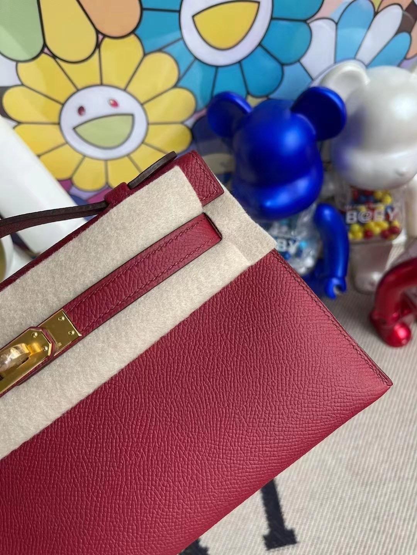 Hermes MiniKelly Pochette Epsom K1 Rouge Great 石榴紅 金扣