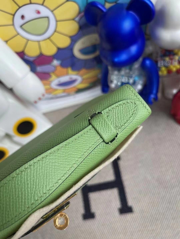 Hermes MiniKelly Pochette Epsom 3I Vert Criquet 牛油果綠 蟋蟀綠 金扣