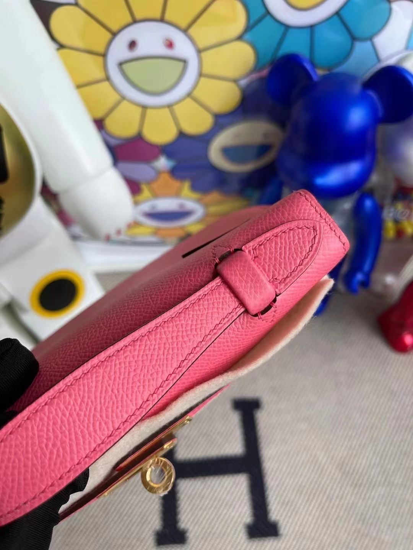 Hermes MiniKelly Pochette Epsom 8W Rose Azalee 新唇膏粉 金扣