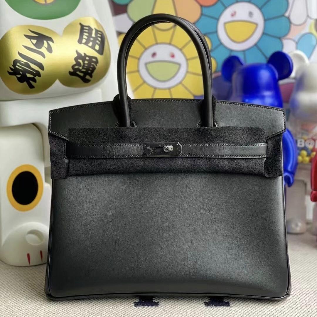 香港元朗區愛馬仕鉑金包 Hermes Birkin 30 So Black Box CK89 Noir黑色黑扣